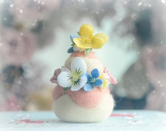 Paris pastry religieuse home decor, needle felted cake ornament, pansy flower pink cream cake, fake pastry food miniature, gift under 20