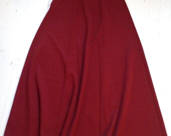 Vintage, 6-Paneled A-line, Orlon Acrylic Knit Long Skirt in Cranberry