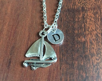 Yacht Initial necklace, Sailboat Initial necklace, Sailing boat, initial hand stamped, personalized, antique silver necklace