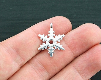 8 Snowflake Charms Silver Plated 2 Sided - SC4248