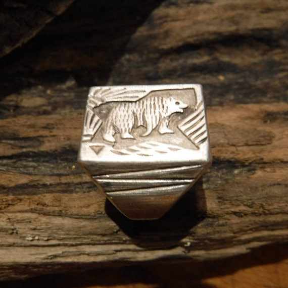 Vintage Mens Silver Bear Ring Zuni Native American Size 11 Mens Silver Bear Sterling Silver Ring 11.8 Grams Stamped Silver Bear Mens Ring
