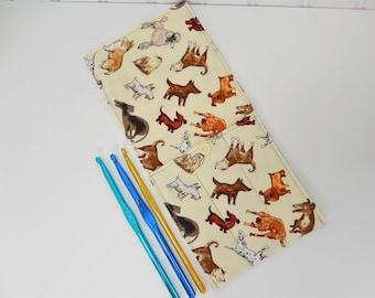 Dogs Crochet Hook Case, crochet hook organizer storage, travel wallet, crochet supplies, hook holder, gift for crocheter, hook wallet