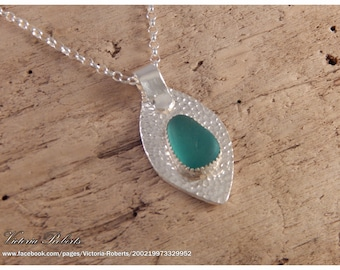Turquoise Sea Glass Necklace in Fine Silver with Sterling Silver Chain