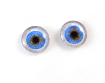 16mm Wide Blue Glass Eye Cabochons - Evil Eyes for Doll or Jewelry Making - Set of 2