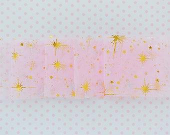 55mm Kawaii Pastel Pink Gold Star Mix Tulle Ribbon - 5 yards