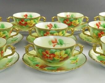 c1900 Superb set 10 Pickard Hand Painted Floral Porcelain Bouillon Bowls w/ Saucers