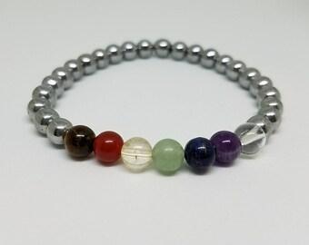 7 chakra bracelet, silver bracelet, chakra bracelet, yoga bracelet, gemstone bracelet, meditation bracelet, energy bracelet, wrist mala