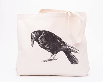 Crow Large Canvas Shopper Tote - Reusable Grocery Bag - Canvas Tote Bag - Screen Printed Cotton Grocery Bag