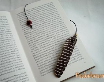 Guinea Fowl feather bookmark black & white, handmade by Federkram