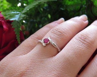 Ruby Engagement Ring, Twig Engagement Ring with Ruby, Natural Ruby Ring, July Birthstone Ring, 14k Gold Ruby Ring, Twig Gold Ring with Ruby.
