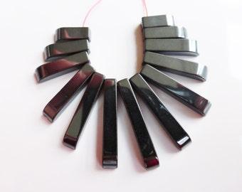 Hematite Fan Beads 10mm-27mm x 4mm Gunmetal Black - 1 Strand (13 beads), Craft Supplies, UK Seller (GB1070)