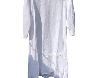 White lagenlook, plus size,  linen dress or tunic, lagenlook, size 14, 16, 18, 20, 22, 24. XXXL