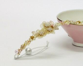 Pearl wedding tiara, bridal gold flower crown, bridal gold hair wreath, bridal halo headpiece, gold bridal hair vine, gold hair accessory