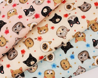 Cats Kitten Face Oxford Fabric Kokka Fabric by the Half Yard
