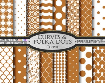 Copper Polka Dot Digital Paper: Copper Digital Polka Dot Background - Polka Dot Scrapbook Backdrop with Printable Copper Heart Paper