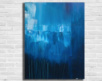 XL Blue Abstract Painting / Contemporary Art / Modern Art / Blue Painting / Blue and White Painting / Large Blue Painting /