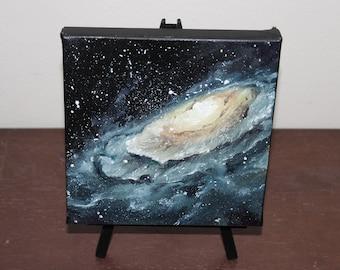 "6x6"" Mini Original Oil Painting - Galaxy Mini Painting - Space Wall Art Office Gift"