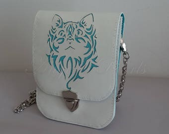 Small Leather Shoulder Bag - Mya - for Cell Phone - Hand Swen