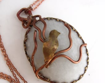 Among the Branches Necklace - Copper, Brass and Marble