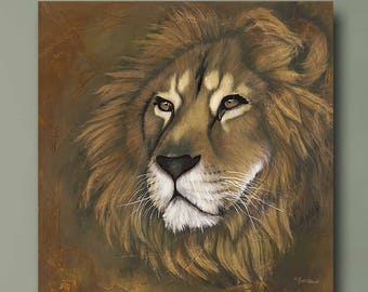 PRINT or GICLEE Reproduction -- Lion print 12x12 -- Modern Lion Art -- The King Has Returned by Britt Hallowell