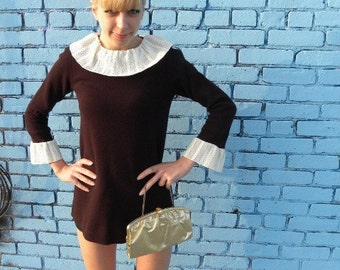Vintage 60s Mod Shift Dress Long Sleeve Brown with White Lace Trim XS