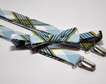 Plaid Bow Tie and Suspenders - Blue and Green Bowtie and Suspenders for Boys
