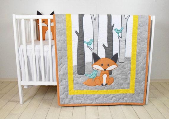 Fox Blanket, Yellow Gray Nursery, Baby Boy Quilt, Woodland Crib Bedding, Forest Blanket,  Custom Made