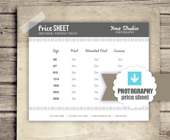 Photography business forms prints price sheet for photography business forms prints price sheet for photographers photographer pricing business document form template instant download cheaphphosting Image collections