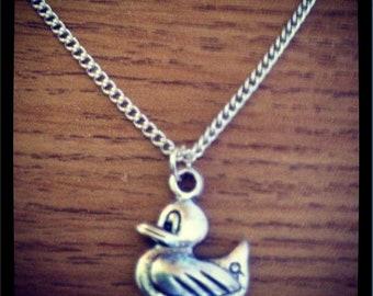 Cute Duck Necklace Tibetan Silver Ditzy Duck Pendant Necklace