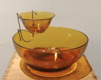Vintage Amber Glass Chip and Dip Bowl