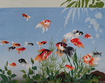 Goldfish Fabric Furoshiki Light Blue Kingyo Goldfish Cotton Japanese Fabric 50cm w/Free Insured Shipping