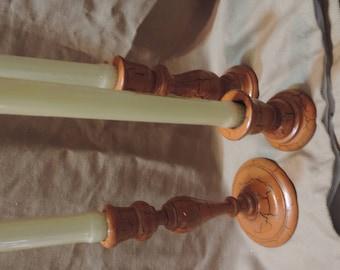 Vintage wooden candlestick holders set of 3