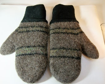 Felted wool mittens with fleece cuff and lining - brown with stripes