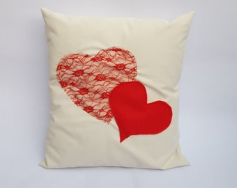 Cream & Red Love Heart Shape Handmade Envelope Style Cushion Cover Lace Felt