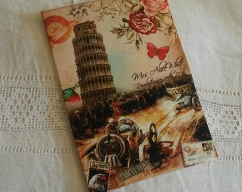 Vignette of vintage fabric / print Italian monument / printing on fabric / pattern old postcard / 20 X 14 cm