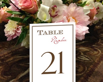 Rustic Table Numbers, Western Table Numbers, Casual Table Numbers, Brown and Red Table Numbers, 1 - 50 Instant Download Table Numbers