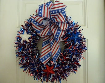 Patriotic flag wreath, Red, White, and Blue, Fourth of July