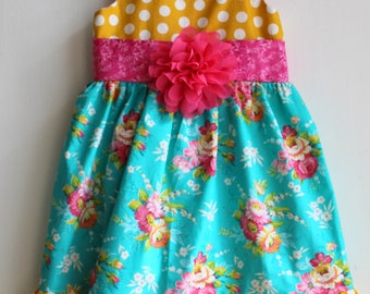 Flowers and dots, toddler dress, girls dress, boutique dress, fancy dress, custom dress, party dress, 1t 2t 2t 4t 5 6
