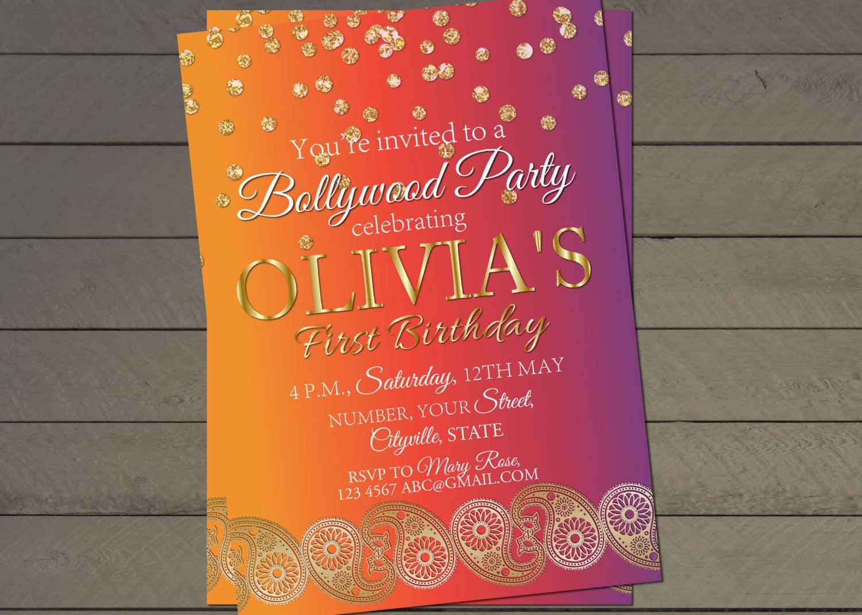birthday party invitations printable%0A Holi invitation Bollywood birthday party invite indian