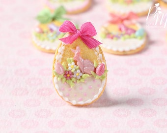"Easter Egg Shortbread Sablé ""Basket"" Cookie (J) - Miniature Food in 12th Scale for Dollhouse"