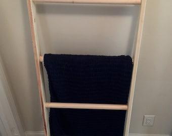 Blanket Ladder, Natural Wood-Rustic Ladder