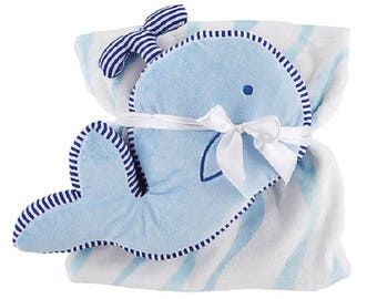 Whale Plush Toy with Fleece Waves Blue & White Blanket Set
