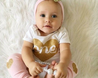 One Year Old Girl Birthday Outfit, Personalized Girl First Birthday Outfit, 1st Birthday Shirt, Pink 1st Birthday Girl Outfit, © Liv & Co.™