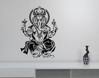 Lord Ganesha Wall Sticker Hindu God Indian Elephant Vinyl Decal Hinduism Art Spiritual Decorations for Home Meditation Room Yoga Decor gn2