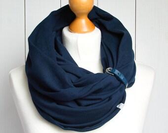 Infinity scarf with leather strap, infinity scarves by ZOJANKA, nautical tube infinity scarf, mediumweight scarf, scarf shawl navy blue
