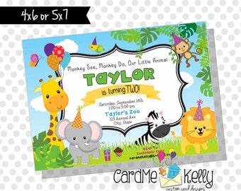 Printable Colorful Zoo Jungle Animals Party Birthday Invitation- Digital File