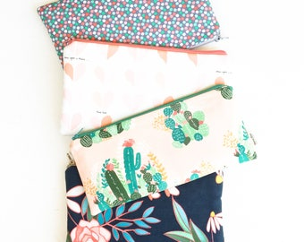 Zipper Pouch, Womens Gift Fashion, Gift for Women, Cactus Pencil Pouch, Fashion Gift, Floral Purse Organizer, Gift for Her, Fashion Bag