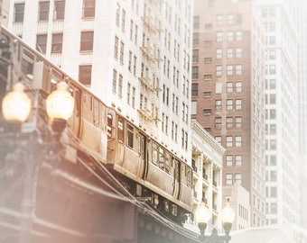 Chicago CTA Train, City Skyline, Loop El Trains, Wall Art Print - Chicago Photography, muted white decor, light gray, beige wall, Urban Home