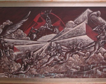"""Robert Lebron Original """"THE GREEK GODS"""" Oil Painting 72 x 30 Inches Signed Dated"""