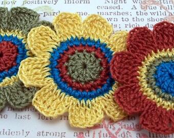 Crocheted 9 Petal Flower Appliques